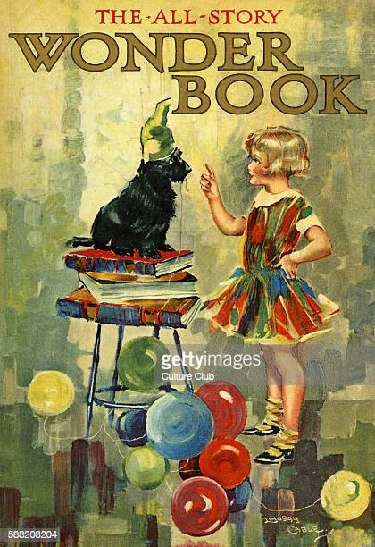 The AllStory Wonder Book illustration by W Lindsay Cable A child teaches a dog to stand upon a pile of books