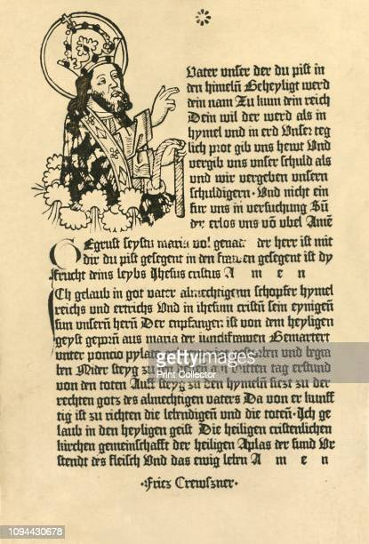 The Almighty with the Paternoster Ave Maria and Credo in German' 1915 From 'Woodcuts of the Fifteenth Century in the John Rylands Library Manchester'...