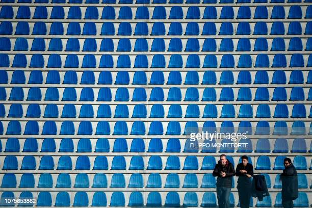 The almost empty tribunes reserved for visitors are pictured prior to the Italian Serie A football match Empoli vs Inter Milan on December 29, 2018 a...