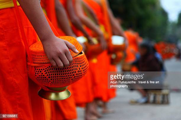 The alms receiving ceremony of Luang Prabang