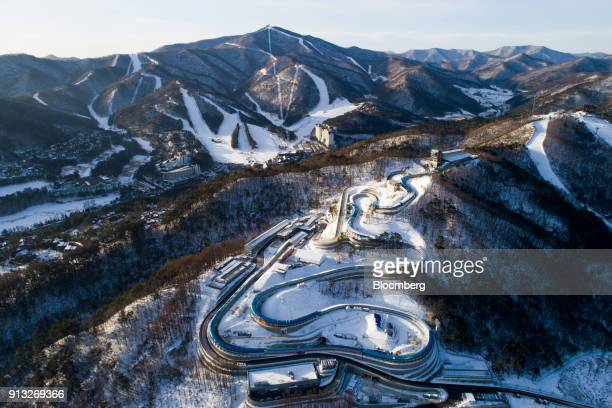 The Alpensia Sliding Center, the venue for luge, bobsleigh and skeleton events at the 2018 PyeongChang Winter Olympic Games, stands in this aerial...