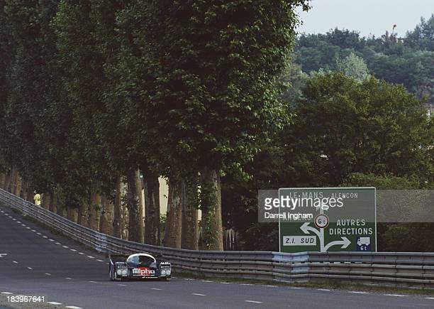The Alpha Racing Team Porsche 962 C driven by Tiff Needell Anthony Reid and David Sears passes through Tertre Rouge during the FIA World Sportscar...