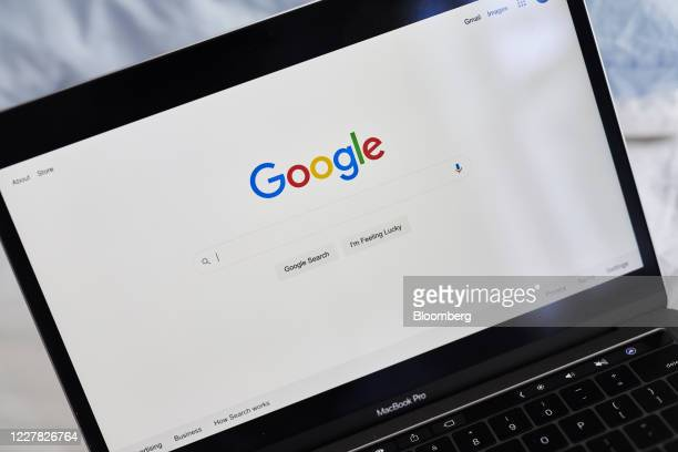 The Alphabet Inc. Google search page is displayed on a laptop computer in an arranged photograph taken in the Brooklyn Borough of New York, U.S., on...