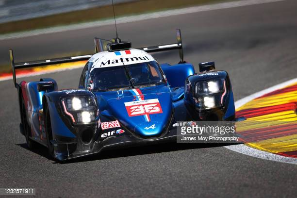 The Alpine Elf Matmut A480 - Gibson of Andre Negrao, Nicolas Lapierre, and Mathieu Vaxiviere in action at the World Endurance Championship Prologue...