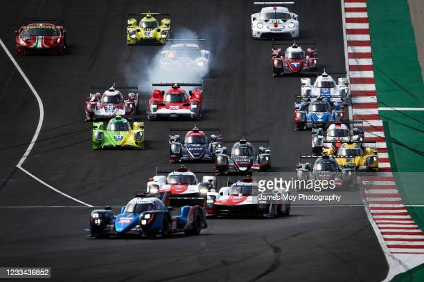 The Alpine Elf Matmut A480 - Gibson of Andre Negrao, Nicolas Lapierre, and Mathieu Vaxiviere leads at the start of the race at Autodromo do Algarve...