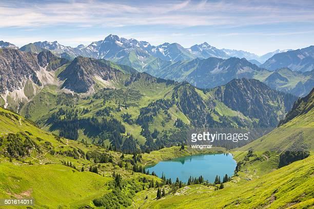 the alpine lake seealpsee near oberstdorf, bavaria, germany