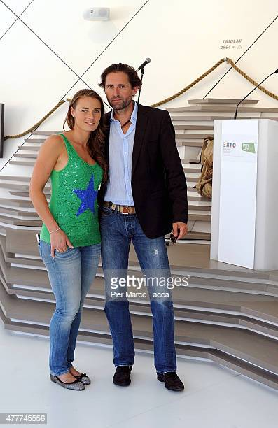 The alpine ski champion Tina Maze of Slovenia and Andrea Massi pose at pavilion of Slovenia during the Expo 2015 at Milan Rho Fiera on June 19 2015...