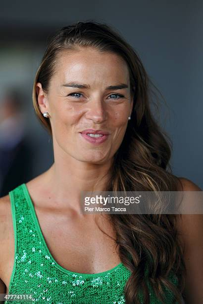 The alpine ski champion Tina Maze of Slovenia attends a press conference at the Expo 2015 at Milan Rho Fiera on June 19 2015 in Milan Italy