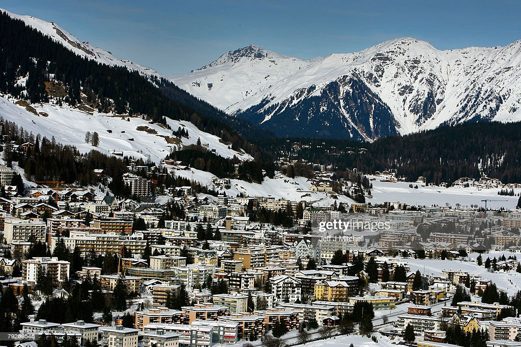 The Alpine ski resort of Davos where the World Economic Forum is taking place January 26, 2008 in Davos, Switzerland. Some of the World's top business people, heads of state and representatives of NGOs will meet at the forum until Sunday.