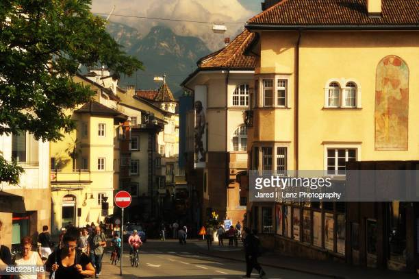 the alps in the background of bolzano, italy - ötzi iceman stock pictures, royalty-free photos & images
