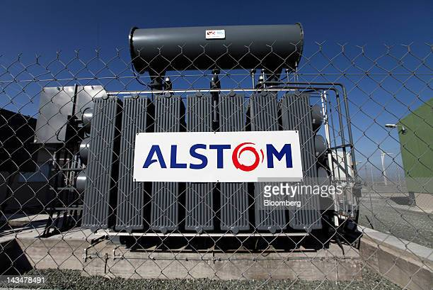 The Alstom SA company logo is seen next to a power generator at the Alexigros windfarm operated by Cyprusbased Ketonis Developments Ltd near the port...