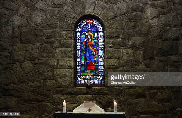 The altar at Saul church before the annual Saint Patrick's Day service and pilgrimage from Saul church to Downpatrick cathedral on March 17 2016 in...