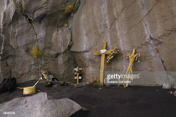 The altar from the previous year's celebrations remain with food drinks and clothes that Don Goyo allegedly used throughout the year March 12 2003 in...