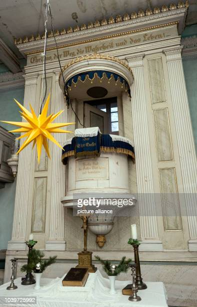 The altar in the church in Altmaedewitz Germany 14 December 2015 For years the couple Luise and Goetz Bernau from Neumaedewitz has been advocating...