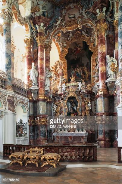The altar in the Pilgrimage Church of Wies Rococo Bavaria Germany