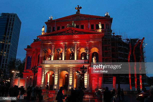 The Alte Oper opera house stands illuminated for the Sportpresseball 2010 at Alte Oper on November 6 2010 in Frankfurt am Main Germany