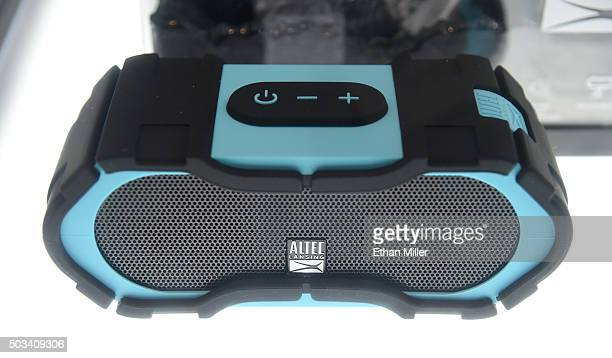 The Altec Lansing BoomJacket portable Bluetooth speaker is displayed during a press event for CES 2016 at the Mandalay Bay Convention Center on...