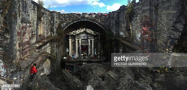 The alter of the church of the Senor de los Milagroslord of the miracles of San Juan Nuevo is seen in Angahuan community Michoacan State Mexico on...