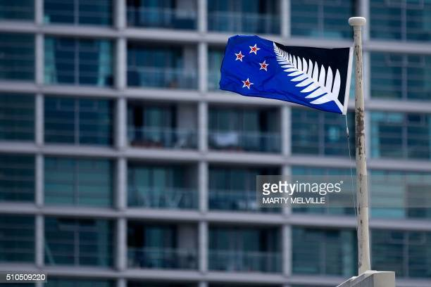 The alternative flag to the current New Zealand flag flutters outside a hotel in Wellington on February 16 2016 In March this year New Zealanders...