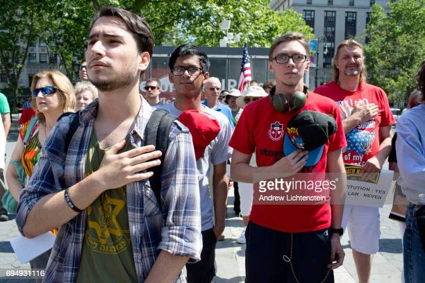 The altright group Act for America holds a small rally to protest sharia law on June 10 2017 in Foley Square in New York City Members of the Oath...