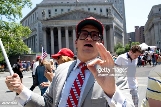 The alt-right group Act for America holds a small rally to protest sharia law on June 10, 2017 in Foley Square in New York City. Members of the Oath...