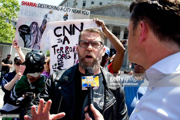 The altright leader and former cofounder of Vice Magazine Gavin McInnes attends an Act for America rally to protest sharia law on June 10 2017 in...