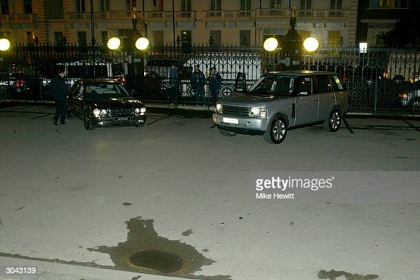 The Aluminium Jaguar and the new Range Rover are seen at the 'FIFA 100 awards' at the Natural History Museum on March 4 2004 in London