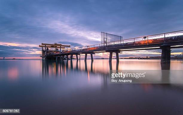 The aluminium pipes line station in the sea of Gove, Australia.