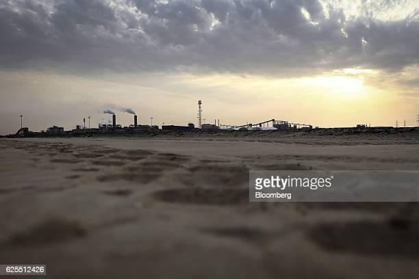 The aluminium plant at the Ras Al Khair Industrial City operated by the Saudi Arabian Mining Co sits on the horizon in Ras Al Khair Saudi Arabia on...