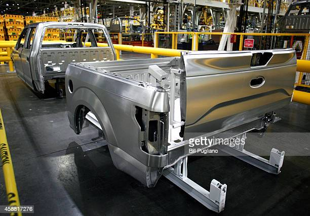 The aluminum body of an allnew 2015 Ford F150 truck is shown at the Ford Dearborn Truck Plant November 11 2014 in Dearborn Michigan The new 2015 F150...