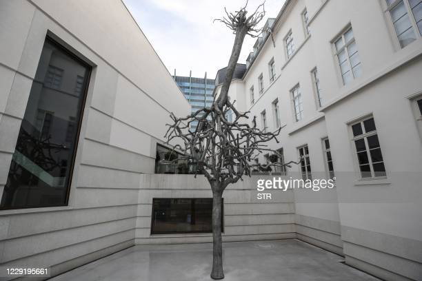 """The aluminum sculpture """"Untitled"""" by Israeli artist Ariel Schlesinger, is seen near the entrance of the Jewish Museum in Frankfurt am Main, western..."""