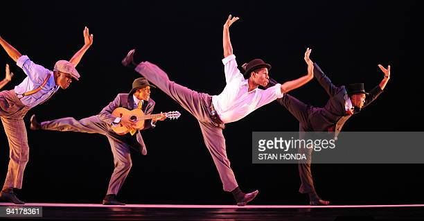 The Alvin Ailey American Dance Theater during dress rehearsal of 'Uptown' chorographed by Matthew Rushing December 9 2009 in New York The performance...