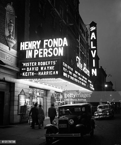 The Alvin Theatre marquee featuring the title Mr Roberts starring Henry Fonda Photo Dated July 20 1948 Location at 250 West 52nd Street New York NY