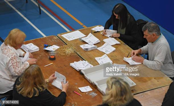 The Alyn amp Deeside Byelection count in ConnahOtildes Quay North Wales caused by the death of Labour AM Carl Sargeant after he was dismissed from...