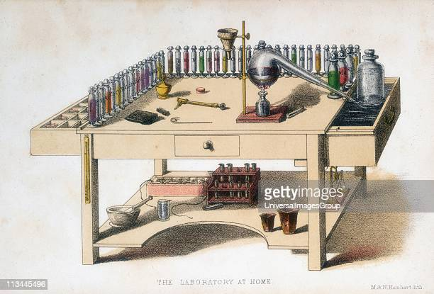 The amateur chemist's laboratory bench 1860 The largest item on the bench is a Liebig condenser apparatus devised the German chemist Justus von...