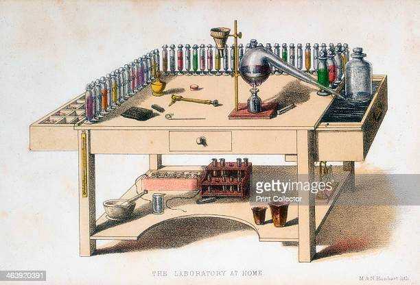 The amateur chemist's laboratory bench 1860 The largest item on the bench is a Liebig condenser a piece of apparatus devised by the German chemist...
