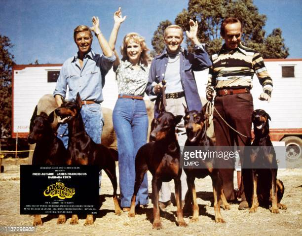 The Amazing Dobermans lobbycard from left James Franciscus Barbara Eden Fred Astaire Jack Carter 1976