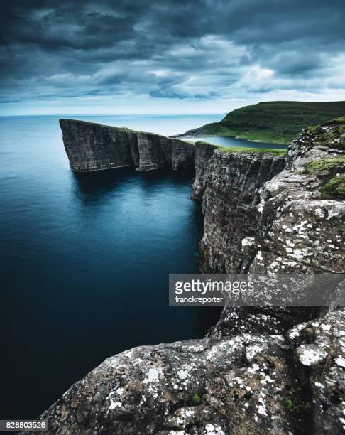 het verbazingwekkende landschap van de Faeröer met hoge klif