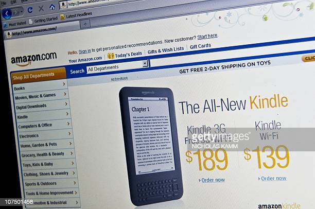 The Amazon homepage is seen in Washington on December 9 2010 advertising its new Kindle ereader Amazon will make its Kindle electronic books...