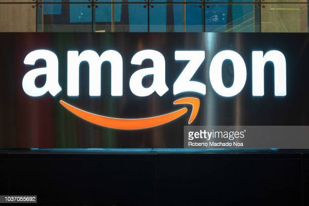 The Amazon logo illuminated at night The sign can be seen in the downtown district of the Canadian city The company is one of the most valuable in...