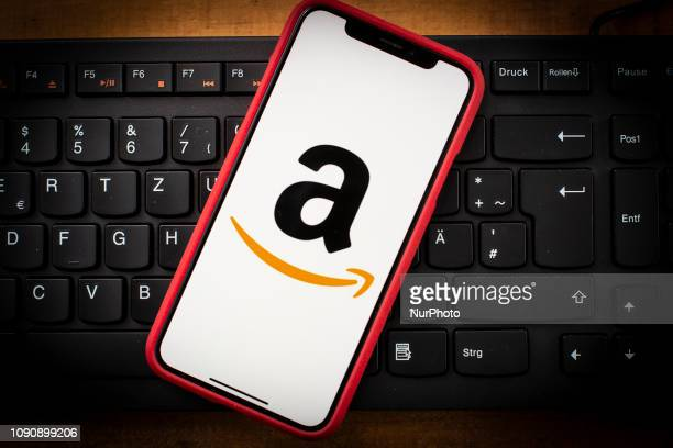 The Amazon logo is seen on a mobile phone in this photo illustration on January 29 2019 Amazon is one of the top 10 most admired companies in the...