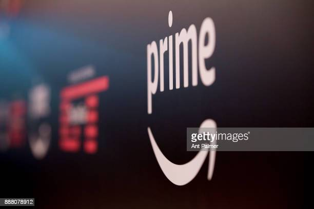 The Amazon Prime Video logo stands at the entrance to the season 2 premiere of 'The Grand Tour' at Grugahalle on December 7 2017 in Essen Germany