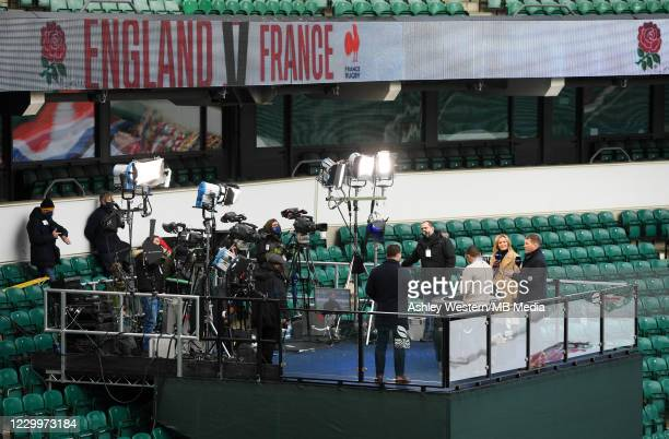 The Amazon Prime Video team of Gabby Logan, Dylan Hartley and Bryan Habana before the Autumn Nations Cup Final & Quilter International between...