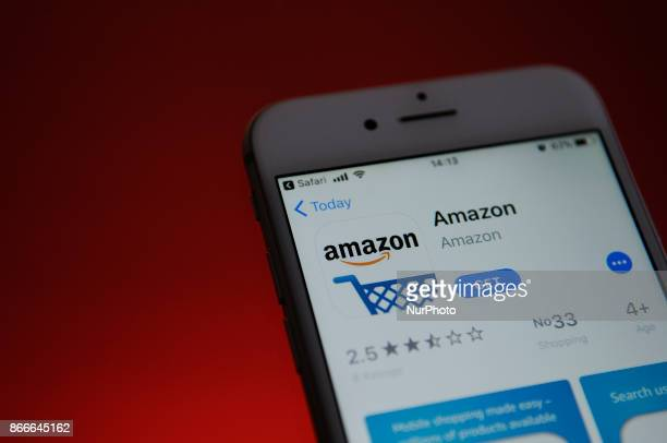The Amazon store application is seen in the Apple App Store on October 25 2017