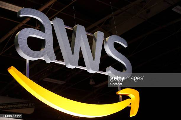 The Amazon Web Services logo, a division of Amazon.com's US e-commerce group is displayed during the 4th edition of the Viva Technology show at Parc...