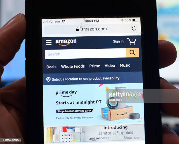 The Amazon website is seen on a smart phone on July 14, 2019 in Orlando, Florida. On July 15 and 16 Amazon holds its annual Amazon Prime Day, a...