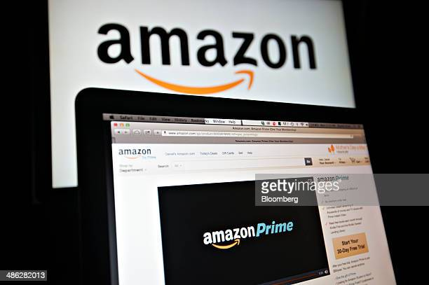 The Amazoncom Inc Prime logo is displayed on computer screens for a photograph in Tiskilwa Illinois US on Wednesday April 23 2014 Amazoncom Inc is...