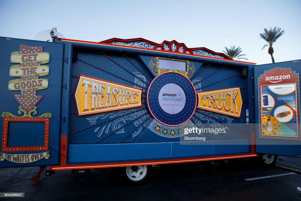 The Amazon.com Inc. Treasure Truck stands at the 2018 Consumer Electronics Show (CES) in Las Vegas, Nevada, U.S., on Thursday, Jan. 11, 2018. Electric and driverless cars will remain a big part of this year's CES, as makers of high-tech cameras, batteries, and AI software vie to climb into automakers' dashboards. Photographer: Patrick T. Fallon/Bloomberg via Getty Images