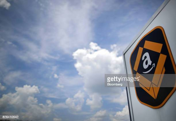 The Amazoncom logo is displayed outside the company's fulfillment center in Kenosha Wisconsin US on Tuesday Aug 1 2017 Amazoncom Inc held a giant job...
