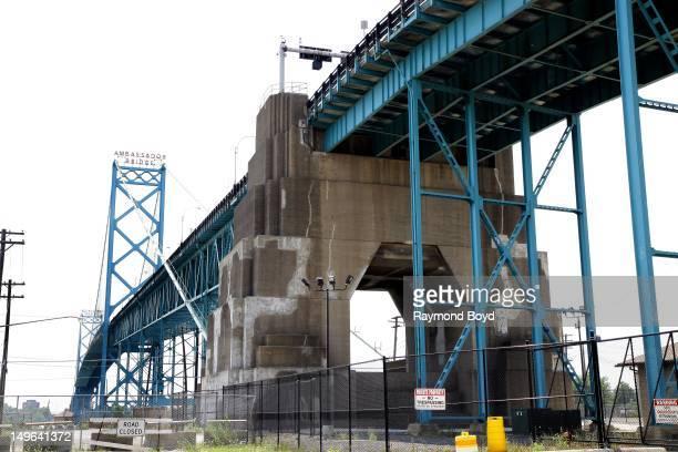 The Ambassador Bridge a major bridge between Detroit Michigan and Windsor Ontario Canada in Detroit Michigan on JULY 22 2012